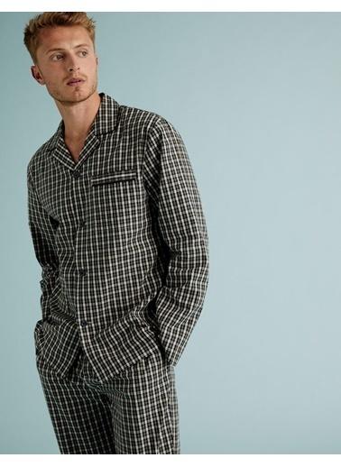 Marks & Spencer Saf Pamuklu Ekose Pijama Takımı Yeşil